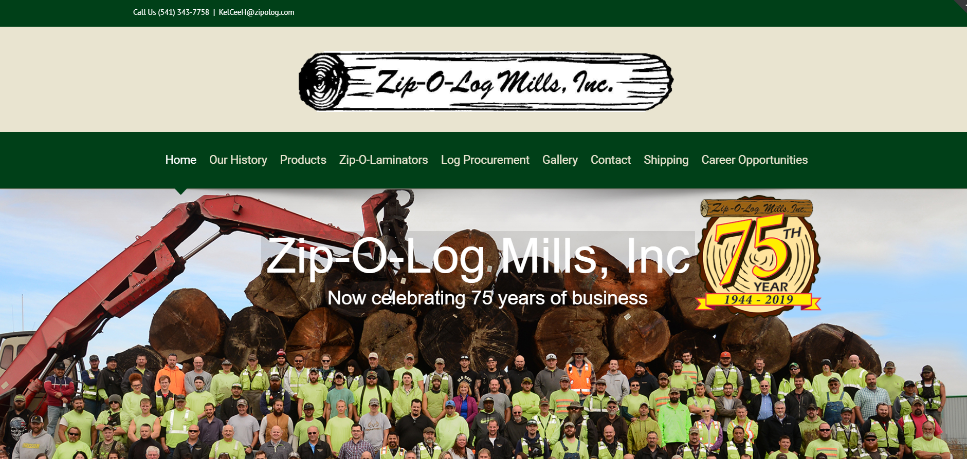 Zip O Log website designed by JH Web Design