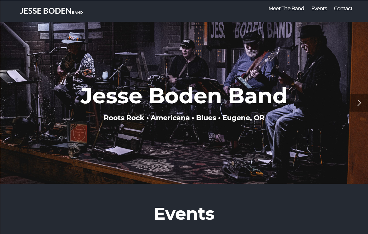 Jesse Boden Band website designed by JH Web Design