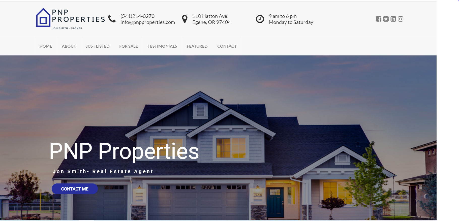 Real Estate Demo website designed by JH Web Design
